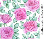 seamless floral pattern with... | Shutterstock . vector #635755082