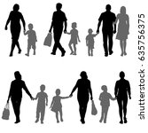 set silhouette of happy family... | Shutterstock . vector #635756375
