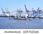 hamburg harbor  birthday parade ... | Shutterstock . vector #635763266