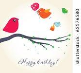 Birthday Card With Cute Birds...
