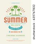 retro summer party design... | Shutterstock .eps vector #635767832