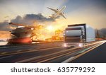 truck transport container on... | Shutterstock . vector #635779292