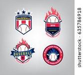 vector design set of baseball... | Shutterstock .eps vector #635786918