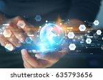 hand touch screen smart phone ... | Shutterstock . vector #635793656