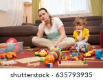 young pregnant mother and her... | Shutterstock . vector #635793935