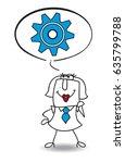 karen the businesswoman thinks. ... | Shutterstock .eps vector #635799788
