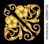 hand draw vintage baroque frame ... | Shutterstock .eps vector #635804732