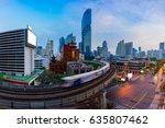 sunset scence of modern office... | Shutterstock . vector #635807462