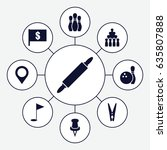 pin icons set. set of 9 pin...   Shutterstock .eps vector #635807888