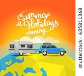 summer travel vector... | Shutterstock .eps vector #635811368
