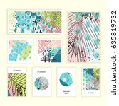 universal floral posters set.... | Shutterstock . vector #635819732