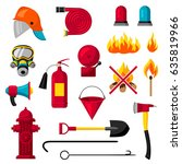 set of firefighting items. fire ... | Shutterstock .eps vector #635819966