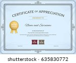 certificate of appreciation... | Shutterstock .eps vector #635830772