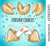 chinese fortune cookies set.... | Shutterstock .eps vector #635832692