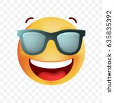 cute very happy with sunglasses ... | Shutterstock .eps vector #635835392