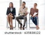 three applicants making... | Shutterstock . vector #635838122