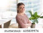 head shot portrait of happy... | Shutterstock . vector #635839976