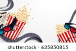 set of popcorn  3d glasses ... | Shutterstock .eps vector #635850815