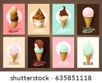 set of brochures with ice cream.... | Shutterstock .eps vector #635851118