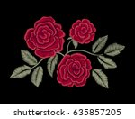chic red roses. embroidery.  | Shutterstock .eps vector #635857205