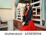 fashion outdoor photo of... | Shutterstock . vector #635858546