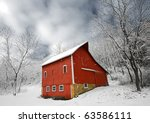 Snowy Red Barn in Winter Landscape Scene - stock photo