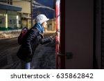 woman choosing beverage on... | Shutterstock . vector #635862842