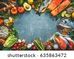 assortment of fresh fish with... | Shutterstock . vector #635863472