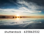 Small photo of Mirror surface on the salt flat Salar de Uyuni at sunrise, Altiplano, Bolivia