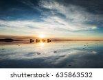 mirror surface on the salt flat ... | Shutterstock . vector #635863532