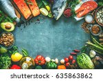 assortment of fresh fish with... | Shutterstock . vector #635863862
