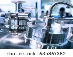glossy metal flanges on the... | Shutterstock . vector #635869382