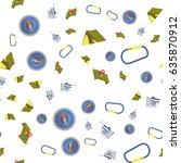 seamless pattern of camping... | Shutterstock .eps vector #635870912