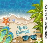 summer holidays in beach... | Shutterstock .eps vector #635876192