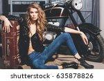 pretty girl biker or cute woman ... | Shutterstock . vector #635878826