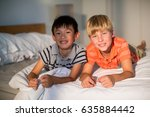 portrait of smiling sibling... | Shutterstock . vector #635884442