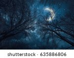 dark sky with stars moon and... | Shutterstock . vector #635886806