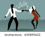 salsa in the city. silhouettes... | Shutterstock .eps vector #635895632