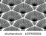 Stock vector decorative hand drawn seamless vector pattern simple sketchy lines arranged in semi circles 635900006