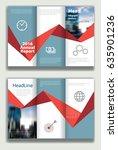 blue annual report leaflet... | Shutterstock .eps vector #635901236