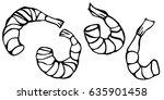 set of cooked shrimps. vector... | Shutterstock .eps vector #635901458