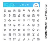 set of 56 kitchen line icons... | Shutterstock .eps vector #635903012