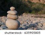 river stones pyramid | Shutterstock . vector #635905805