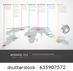 world map infographic with... | Shutterstock .eps vector #635907572