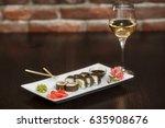 philadelphia maki sushi rolls...   Shutterstock . vector #635908676