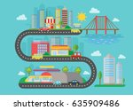 urban modern city landscape on ... | Shutterstock . vector #635909486