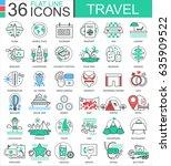 travel color flat line outline ... | Shutterstock . vector #635909522