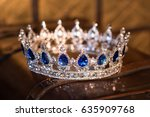 royal luxury gold crown with... | Shutterstock . vector #635909768