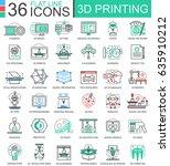 3d printing technology flat... | Shutterstock . vector #635910212