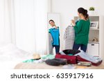 tourism  people and luggage... | Shutterstock . vector #635917916